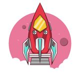 Red rocket take off to the space Royalty Free Stock Photos