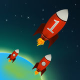 Red Rockets flying in outer space. Vector. Illustration of a retro rocket ships flying throw outer space Royalty Free Stock Photo