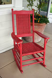 Red Rocking Chair Stock Photo