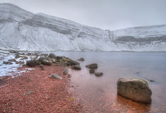 Red rocks. At lake in South Wales during sunset Royalty Free Stock Photo