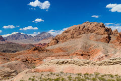Red rocks amid blue sky in Valley of Fire State Park Royalty Free Stock Images