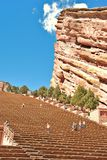 Red Rocks Amphitheatre. The site of many famous rock concerts, outside Denver, Colorado, on a beautiful Saturday afternoon showing tourists and locals enjoying Royalty Free Stock Photography