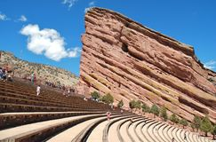 Red Rocks Amphitheatre II. Red Rocks Amphitheatre, the site of many famous rock concerts, outside Denver, Colorado, on a beautiful Saturday afternoon showing Royalty Free Stock Photo