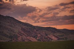 Red Rocks Amphitheatre. At Sunset. Morrison near Denver, Colorado, United State Royalty Free Stock Photography