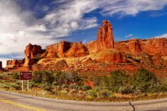 Arches National Park, Utah. The Three Gossips red rocks, panorama view. Arches National Park, Utah. USA Royalty Free Stock Photo