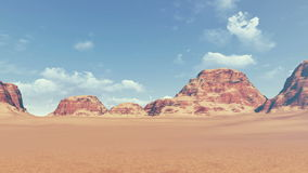 Red rocks among barren land panoramic view. Panorama of red rock formations among barren lands, covered with dry grass. Daytime. Realistic three dimensional stock footage