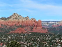 Sedona Red Rocks and Blue Sky. A Deep blue sky behind red rocks of Sedona Canyon Stock Photo