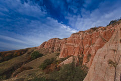 Red rocks in canyon and blue sky Stock Image