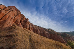 Red rocks in canyon and blue sky Royalty Free Stock Images