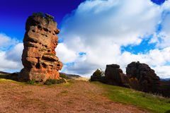 Red rocks in cloudy autumn day Royalty Free Stock Photo