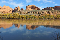 Red rocks on Colorado River Royalty Free Stock Photo