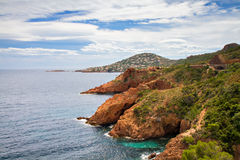 Red Rocks on the Corniche Esterel Stock Photo