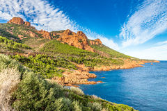 Red rocks of Esterel Massif-French Riviera,France Stock Image