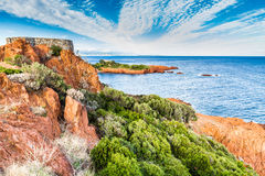 Red rocks of Esterel Massif-French Riviera,France Royalty Free Stock Photos