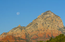 Red Rocks with full moon. Red rock formation with full moon in Sedona, AZ Royalty Free Stock Photos