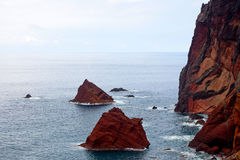Red rocks on the island of Madeira Royalty Free Stock Photography