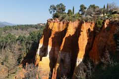 Red rocks in Luberon Regional Park Royalty Free Stock Photo