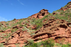 Red rocks in mountain valley. In north Argentina Stock Photos