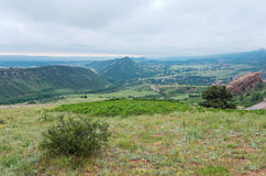 Red Rocks Mountain Vista. Red rocks park overlook of mountain range and valley in jefferson county colorado Stock Images