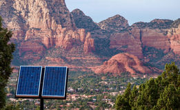 Red Rocks near Sedona Arizona with Solar Panels Stock Photos