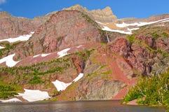 Red Rocks Over a Mountain Lake Stock Photos