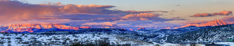 Red Rocks panorama at sunset Royalty Free Stock Image