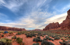 Red rocks,Pink Sand Desert in Monument Valley Stock Images