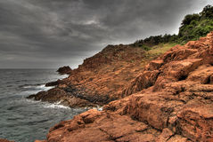 Red rocks of provence coast. Red rocks on the provence coast while thunderstorm incomes Stock Images