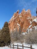 Red rocks reaching to the sky in Garden of the Gods in Colorado Springs Colorado stock photo