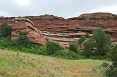 Red Rocks Ridgeline and Meadow. Rock formations along ridge and meadows of red rocks national historic landmark in jefferson county colorado Stock Image