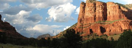 Red Rocks, Sedona AZ. Stitched photo of afternoon sun on the red rocks in Sedona AZ Royalty Free Stock Photography