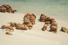 Red Rocks on the Shore Royalty Free Stock Photos