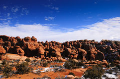 Red Rocks and snow Stock Photography