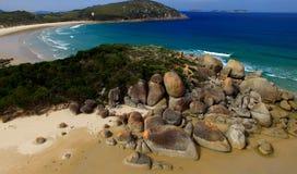 Red Rocks of Squeaky Beach, Victoria -  Australia.  Stock Photo