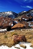 Red Rocks State Park Colorado. During winter with mountains and blue skies Royalty Free Stock Images