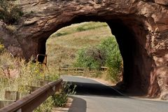 Through the Red Rocks Tunnel Stock Photo