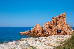 Red rocks and turquoise water of Arbatax, Sardinia. Italy Stock Images