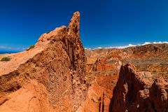 Red rocks under the blue sky in the canyon Skazka, Kyrgyzstan.  Royalty Free Stock Photos