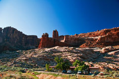 Red rocks of Utah. Red rocks under  the blue sky. Arches National Park Royalty Free Stock Photo
