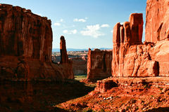 Red rocks of Utah. Red rocks under  the blue sky in sunny weather. Arches National Park Royalty Free Stock Images