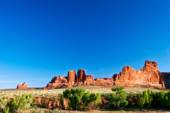 Red rocks of Utah. Red rocks under  the blue sky. Arches National Park Royalty Free Stock Images
