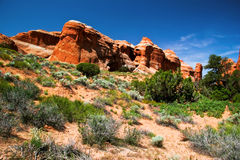 Red rocks of Utah. Red rocks under  the blue sky. Arches National Park Stock Photo