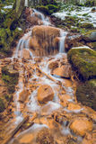 Red rocks waterfall in Latvia. 2015 stock images