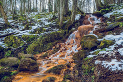 Red rocks waterfall in Latvia. 2016 stock photography
