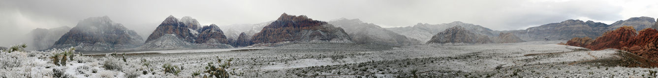 Red rocks winter panorama Royalty Free Stock Photography