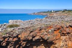 Red rocky cliffs, Boca do Inferno chasm Stock Image