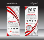 Red roll up banner template, banner design, stand template, disp Stock Images