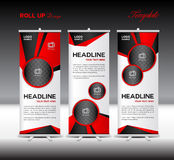 Red Roll Up Banner template design on polygon background. Red Roll Up Banner template vector illustration,polygon background,banner design,standy template,roll Stock Image