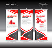 Red Roll Up Banner template and info graphics elements, stand de Stock Photo