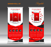 Red Roll up banner  template and Mobile infographics  Stock Images